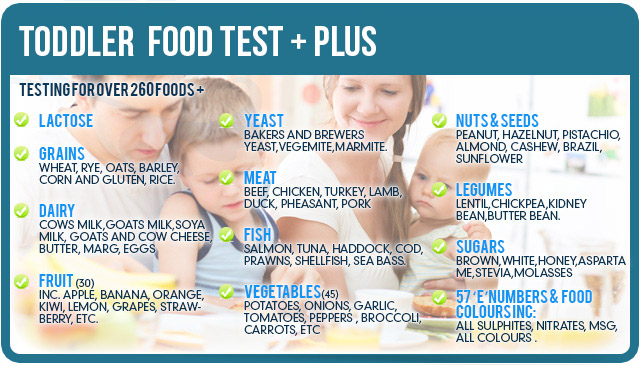 Food Intolerance Testing. toodler food test